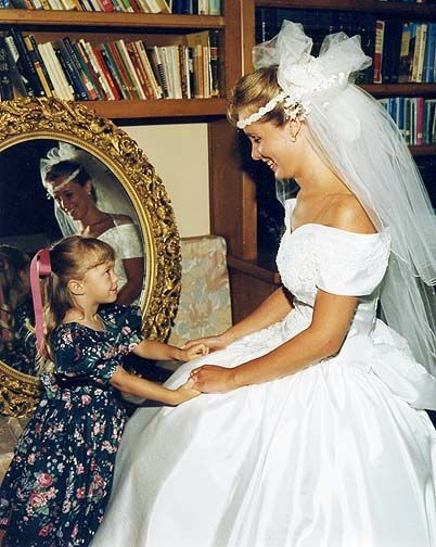 wedding gown and halo veil c. late 80s, early 90s