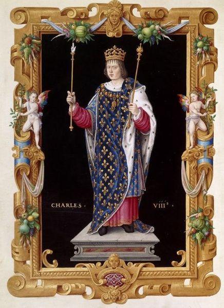 Charles VIII of France, From Recueil des rois de France. c. 16th century. - D'esprit chimérique et fantasque,le jeune Charles VIII ne rêve que d'exploits chevaleresques et de croisade en Orient. Il décide de faire valoir les droits de la maison d'Anjou sur le royaume de Naples, droits transmis à la couronne de France avec l'héritage du roi René en 1480.