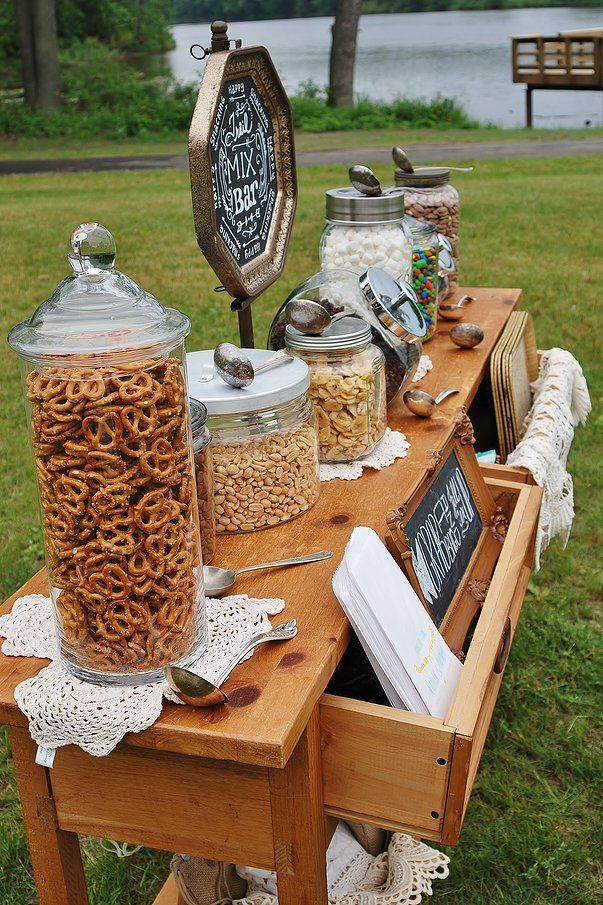 Pre Wedding Snack Station - Water Botles - vintage wedding reception best photos - vintage wedding  - cuteweddingideas.com