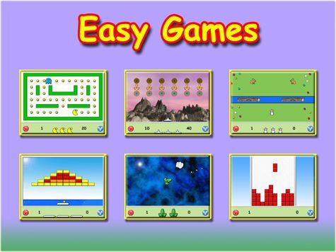 """Easy Games består av 6 olika sorters underhållande spel. Varje del innehåller en mängd variationer, uppdelade i två nivåer, lätt och svår. Det finns mer än 400 olika """"banor"""" att spela."""