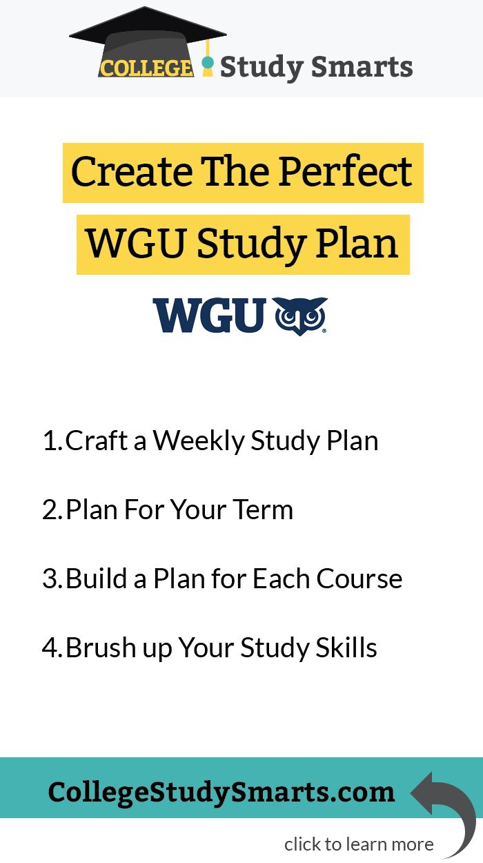 Create The Perfect Wgu Study Plan Study Skills Online College