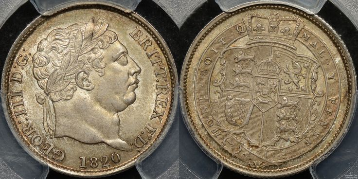 Great Britain 1820 Shilling PCGS MS64+ http://www.thepurplepenny.com/1477,great-britain-1820-shilling-1s-km-666-pcgs-ms64-gem-uncirculated.html