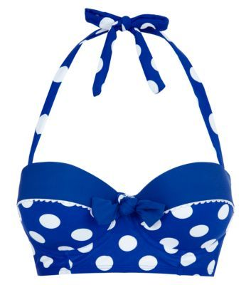 Kelly Brook Blue Spot Longline Bikini Top