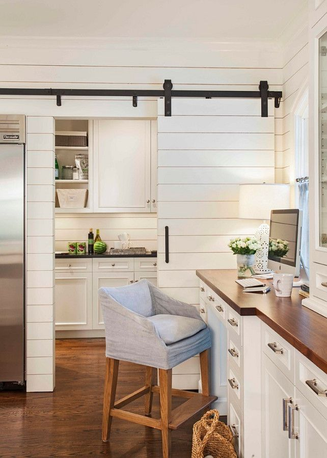 Pantry with Sliding Barn Door Transitional kitchen Advanced Renovations ~Love the shiplap the door and the little computer station in this kitchen ~B & 25+ best ideas about Kitchen doors on Pinterest | Kitchen pantry ... Pezcame.Com
