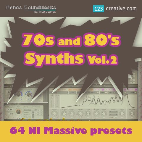 """► 70s and 80s Synths Vol.2 - MASSIVE PRESETS - collection of 64 vintage style sounds for Massive synthesizer. Great care was taken to provide a """"warmer"""" side to Massive with subtle extra programming, offsetting the synth's naturally sharp character. Genres: 80s, Funk, Hip Hop, Pop, Rock, Electro, House, Trip Hop, Breakbeat, Jazz, Neo Soul, RnB, Soul. View now: http://www.123creative.com/electronic-music-production-massive-presets/1266-70s-and-80s-synths-vol2-ni-massive-presets.html"""