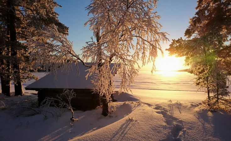 Winter view at the Lake Miekojärvi in Pello in Finnish Lapland