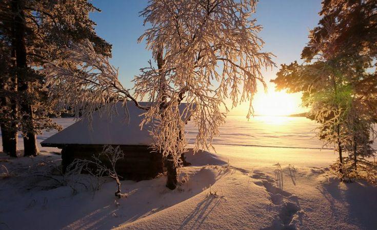 Winter view at the Lake Miekojärvi in Pello in Finnish Lapland