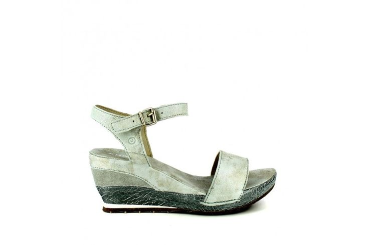 Passion Platino   Sandal in real suede vintage look with laminated inserts. Adjustable strap, rubber sole and wrapped wedge 7 cm high