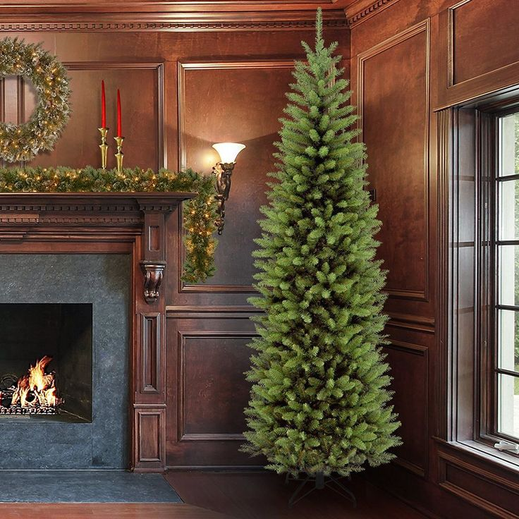 7.5 Foot Christmas Artificial Tree Metal Tree Stand Kingswood Fir Pencil Tree #Unbranded