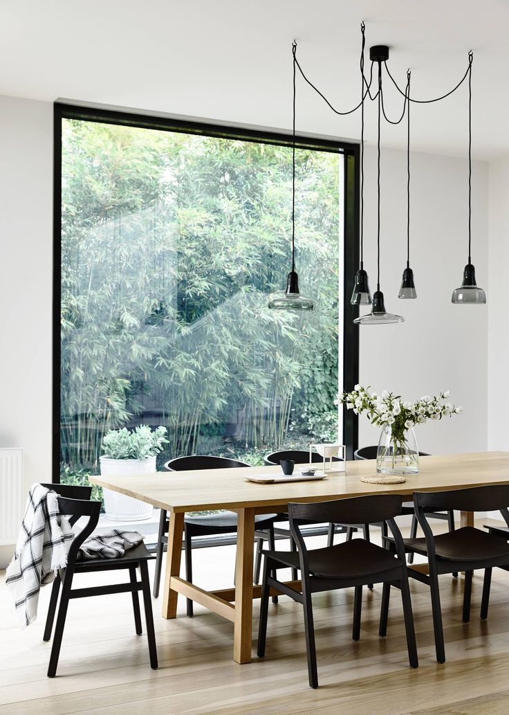 Light, bright and minimal Scandinavian style dining room.
