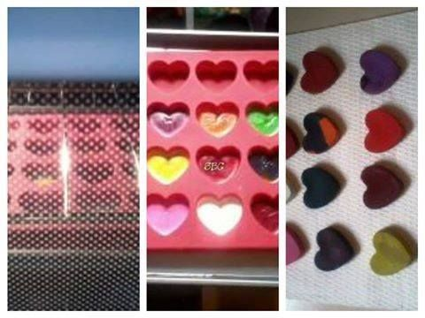 DIY heart crayons Get a silicone pan at walmart 1 16 pack of glitter crayons 1 24 pack reg crayons pair up crayons so you will have 20 pair total. remove all paper easiest way is to slice with a razor knife. Break crayons into 3 or 4 chunks put into pan. Preheat oven to 250 . Place silicone pan on cookie sheet. Bake 15 mins or just until they turn to liquid. let cool pop out of mold. HEART SHAPED CRAYONS ❥ Share to save on your timeline ❥ or Tag yourself to save it to your photo ...