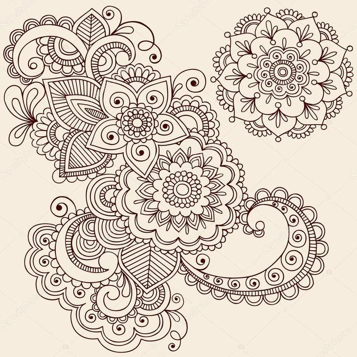 Descargar - Garabatos de tatuaje de henna mehndi vector elementos de diseño — Ilustración de stock #8693168