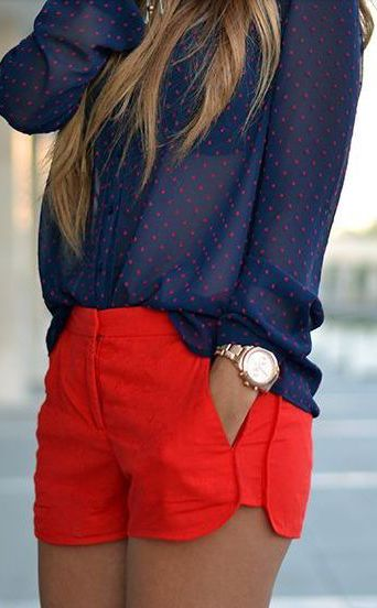 I love this top with these bright colored shorts! Would love low rise shorts like these in my fix!
