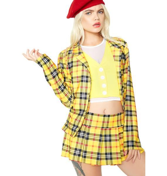 """Get A Clue Costume Set ugh, as if! Tell 'em """"whatever"""" in this cute af yellow plaid costume that includes a lil mini skirt, open front jacket, and a white N' yellow layered top. Complete your look with black heels N' white socks for the ultimate fashionable outfit. #dollskill #halloween #sexycostume #easycostume #costume #diy #inspo #holloweeninspo #popculture #popculturecostume #2017costume #90sfashion #clueless"""