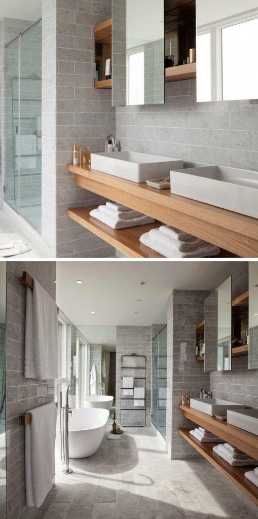 meuble sous lavabo salle de bain -bois-massif-étagère-ouverte-vasques-rectangulaires-carrelage-gris