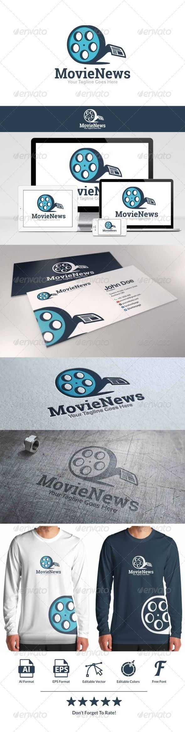 Movie News is a professional clean and elegant logofor company or personal.  FeaturesAI & EPS formats!100 Editable & Re-sizable v