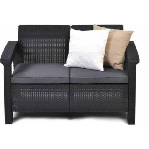 Outdoor Rattan Sofa Resin Love Seat With Cushions Plastic Patio Furniture Gray