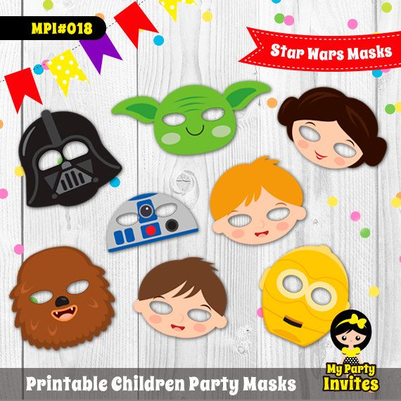 Star Wars Masks, Instant Download, Star Wars Printable Party, MPI#018