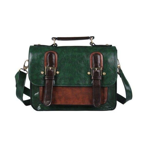 Ecosusi Women Ladies Vintage PU Leather Satchel Bag Handbag Messenger... ($35) ❤ liked on Polyvore featuring bags, messenger bags, green satchel, vintage satchel handbags, green bags, courier bag and vintage satchel