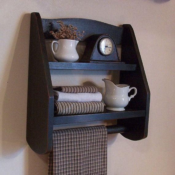 Step Back Towel Rack Wood Shelf Farmhouse Kitchen or Bathroom Storage / Lamp Black / Color Choice