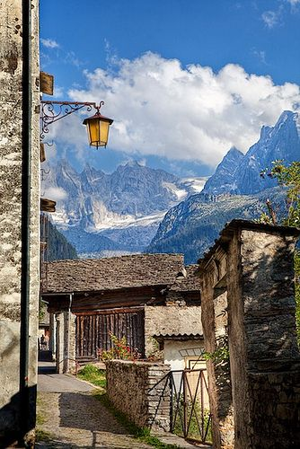 The Town of Soglio, Switzerland in the Bergell County, almost Italy, is a very old town, no cars allowed,