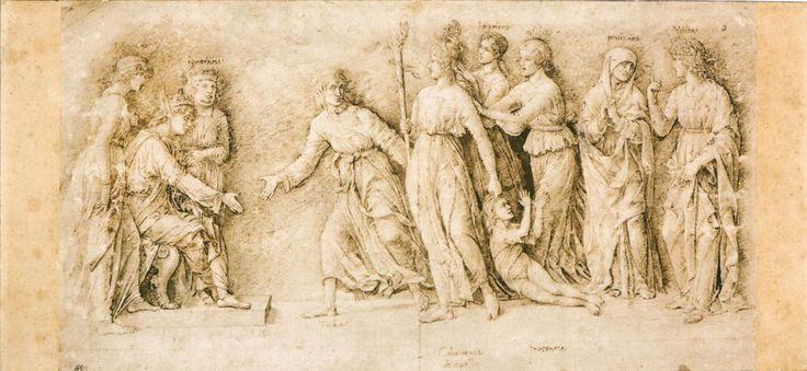 Andrea Mantegna. The Calumny of Apelles 1504-06 Pen and ink, 206 x 379 mm British Museum, London