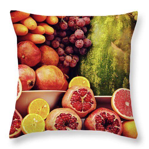 Taste Of Summer By Svetlana Yelkovan #SvetlanaYelkovanFineArtPhotography #pillow #ArtForHome #FineArtPrints #fruits