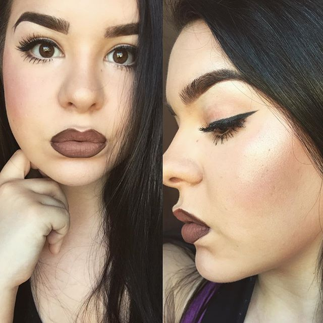 """Today's look feat. wings and highlight  Products used: Kat Von D Foundation  Tarte Concealer  Becca Highlighter  Carli Bybel eyeshadow and highlight palette  Kylie Lipkit liner in """"True Brown K"""" and liquid lipstick in """"Dolce K""""  #makeup #highlight #tarte #kylielipkit #brows"""