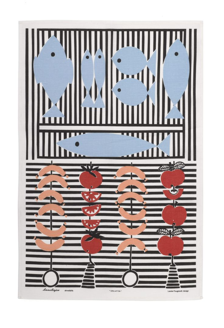 A charming tea towel celebrating the summer barbeque, designed by Louise Fougstedt in the 1950's   47cm x 70cm 55% linen 45% cotton. Available from www.newhousetextiles.co.uk