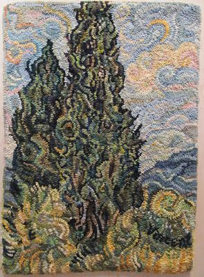 Van Gogh Cypresses hooked by Janet Conner