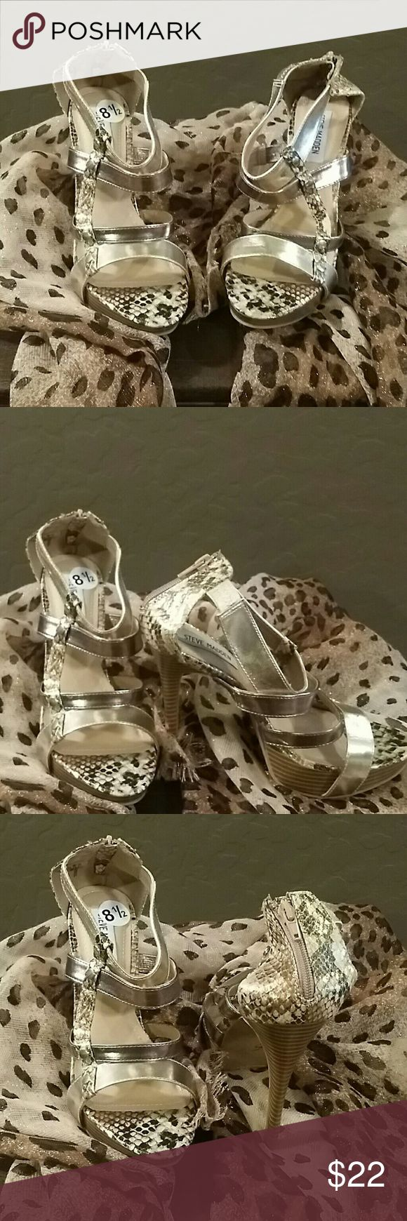 "NEW * Steve Madden * Beautiful * Animal Print High Heels * Black/Gold * 5"" Heels Steve Madden Shoes Heels"