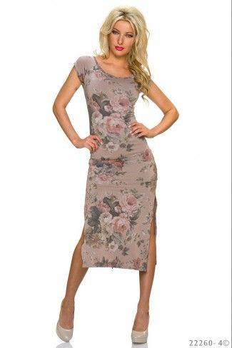 Κοντομάνικο φλοράλ μίντι φόρεμα - Μπεζ Πολύχρωμο