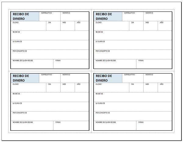 Recibo De Entrega De Dinero En Excel Para Descargar E Imprimir Formato De Recibo Recibo Imprimir Sobres