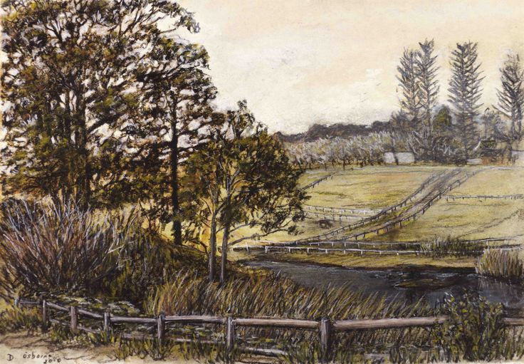 Uitsig Paddocks (charcoal study) - Charcoal and ochre on paper. 175 x 245 mm.  I often take walks between the wine farms with my sketchpad. This was a nice view looking across the valley of Constantia Uitsig. I did an oil painting of this view afterwards.
