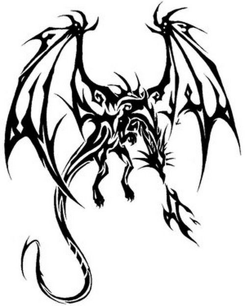 Tribal Fly Dragon Tattoo Designs ~ http://tattooeve.com/tribal-dragon-tattoo-designs/ Tattoo Design