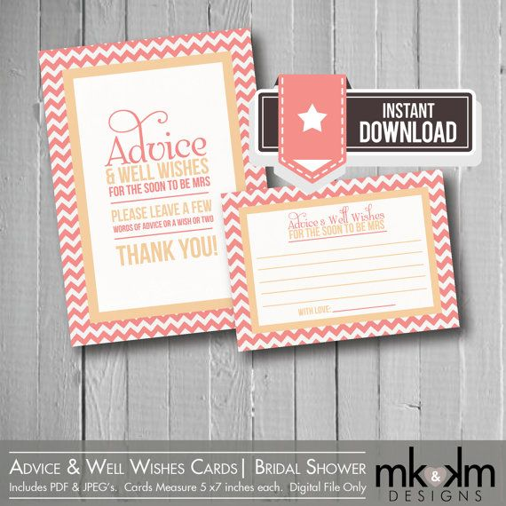 Advice & Well Wishes Cards:Modern Chevron Bridal Shower
