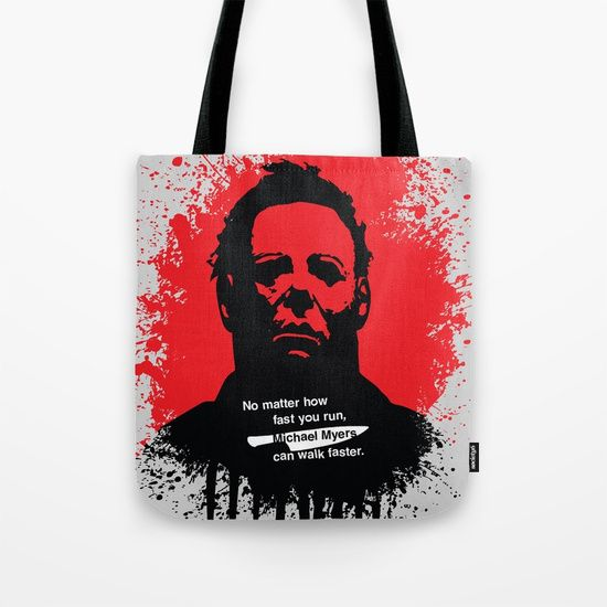 Halloween Tote Bag by Fimbis         Michael Myers, horror, art, scary movies, illustration, blood, movie poster, dark, shopping, school, bags,