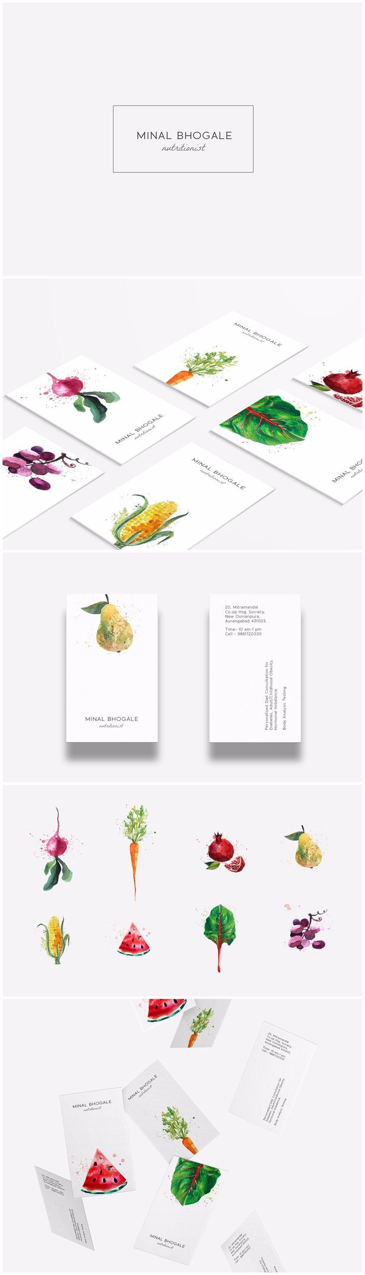 Nutritionist Brand identity design ~ Minal Bhogale is an Aurangabad based Dietician & Nutritionist offering personalized diet consultation for diabetes, hormonal imbalance, child/adult obesity. We designed an identity for her that would promote fitness, freshness and healthy food habits.