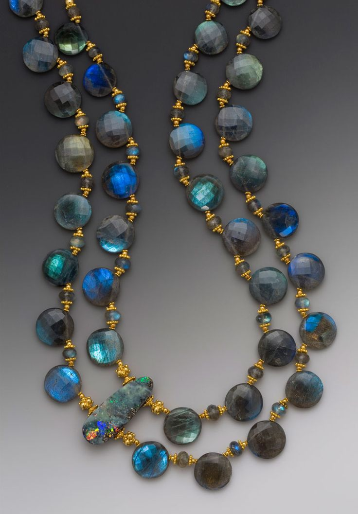 "Elle Schroeder's ""Blue Moon,"" Australion boulder opal on a double-strand of top-drilled faceted labradorite coin beads with faceted labradorite rondelles & 18K accents"