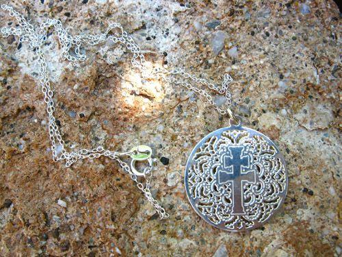 Caravaca cross filigree cut out pendant in fine silver