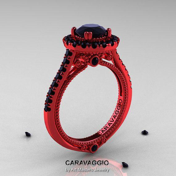 Caravaggio 14K Red Gold 1 0 Ct Black Diamond Engagement Ring Wedding Ring R6