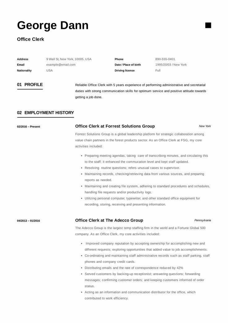 Data Entry Clerk Resume Resume Examples Fice Clerk Resume