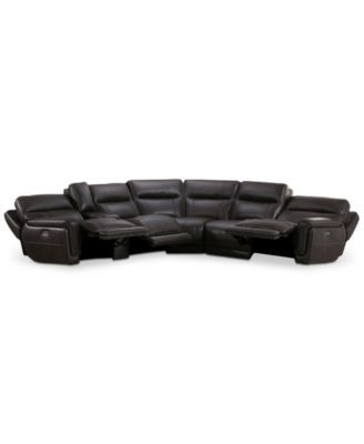 Summerbridge 6-Pc. Leather Sectional with 3 Power Reclining Chairs, Power Headrests, and Console with USB Power Outlet