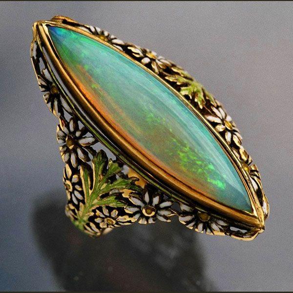 Ring |  European, c.1900, Gold, Enamel and Opal.