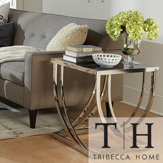 Tribecca Home Anson Steel Brushed Arch Curved Sculptural Modern End Table | Overstock.com Shopping - The Best Deals on Coffee, Sofa & End Tables