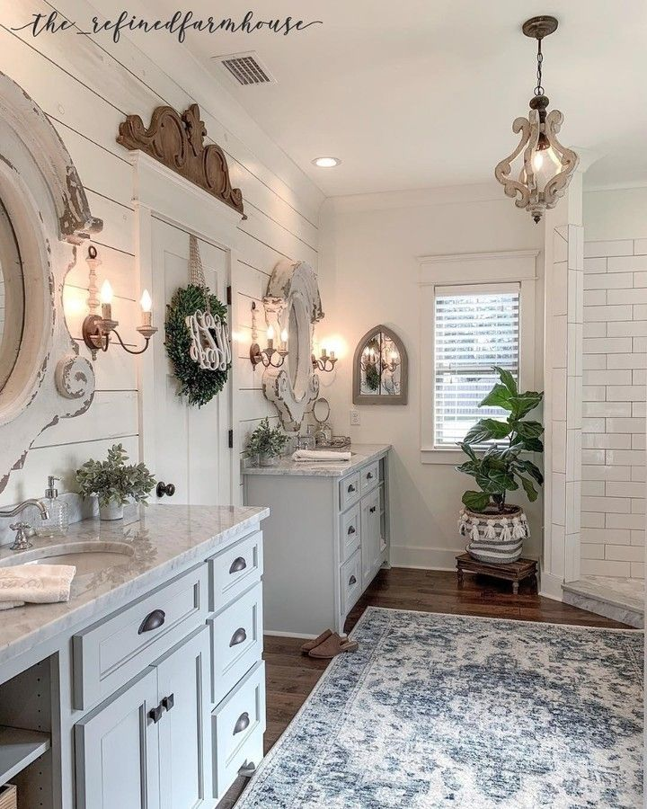 Farmhouse Is My Style On Instagram Luxury Modern Farmhouse Bathroom Double Vanity With Beautiful French Country Bathroom Country House Decor Chic Bathrooms
