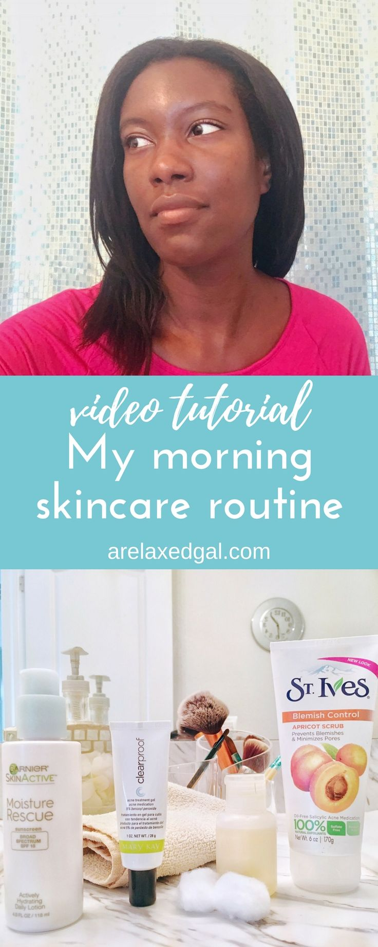 I've developed a skincare routine for my mornings to help keep my sensitive and breakout prone skin clear and glowing. You can see my morning skincare routine in action in this video tutorial. | A Relaxed Gal: Hair + Beauty + Blogging + Finance