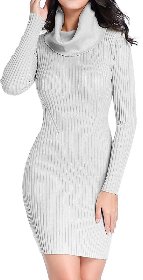 Women's Cowl Neck Knit Stretchable Elasticity Long Sleeve Slim Fit Sweater Dress. https://www.amazon.com/gp/product/B00RGMKAAK/ref=as_li_tl?ie=UTF8&camp=1789&creative=9325&creativeASIN=B00RGMKAAK&linkCode=as2&tag=pinsleevedress2-20&linkId=6de20a5d786081d5c566ac2efa50e8bc