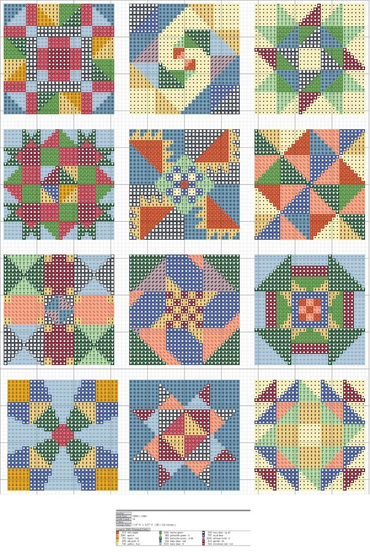 Free Cross Stitch Quilt Block Patterns... no color chart available, just use pattern chart as your color guide.. or choose your own colors...