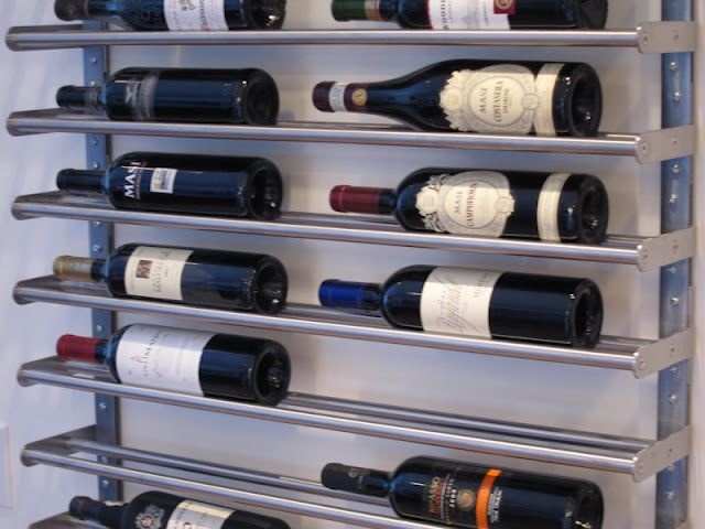 Wine rack made from Ikea towel bar